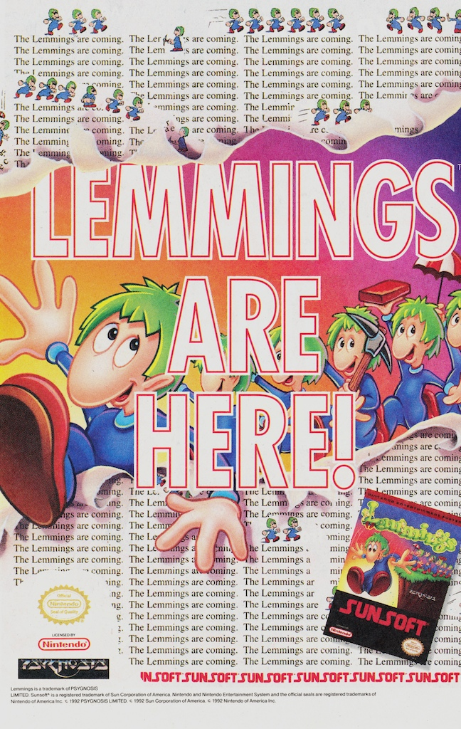 Lemmings Nintendo NES Advertisement