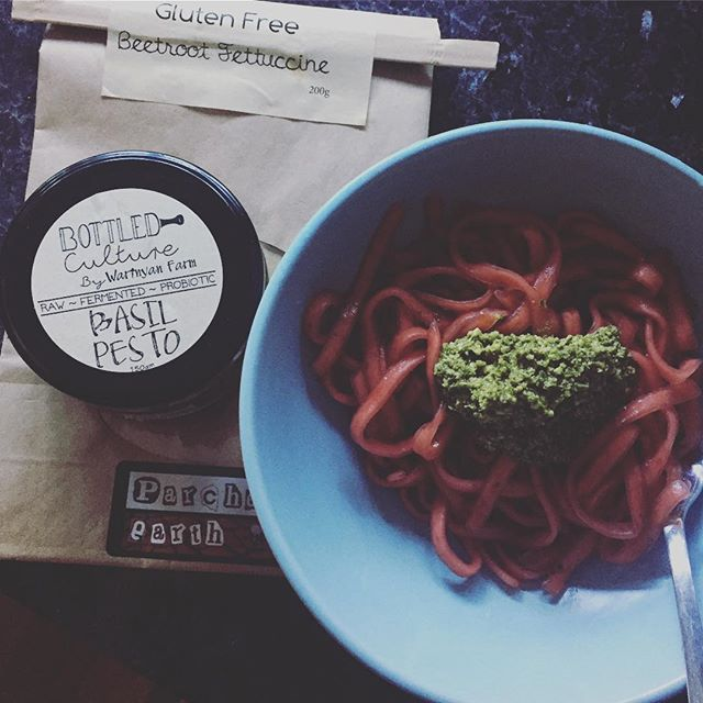 Post market easy meal. Local, handmade, real food. Love our town ❤️ #nabiacfarmersmarket #parchedearthpasta #bottledculturebywarinyanfarm