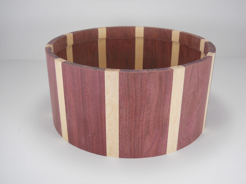 Purpleheart with birdseye maple stripes 6.5x14
