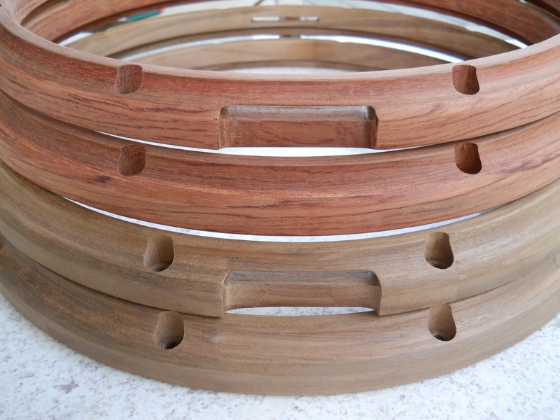 Bubinga and walnut thick-ply hoops