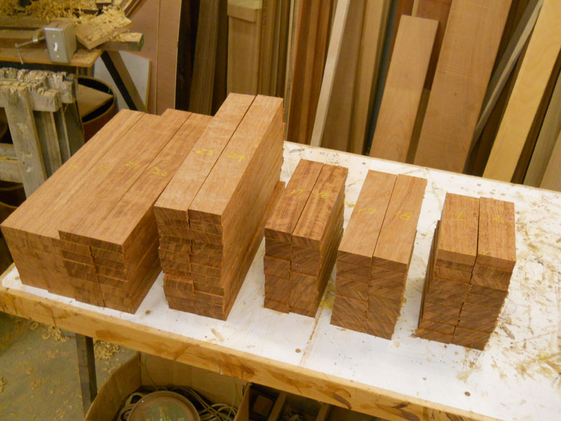 Staves cut for a drum kit