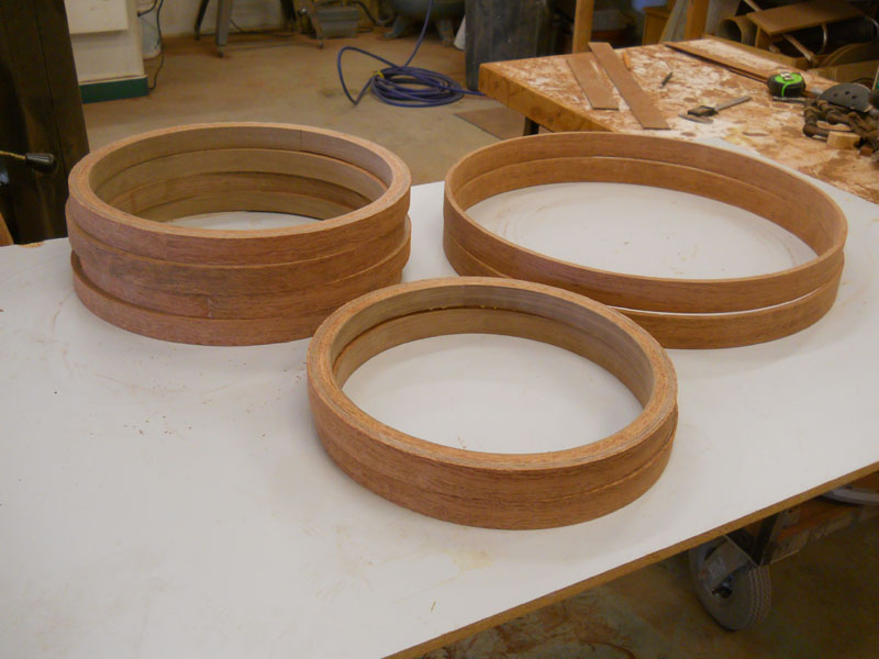 Wood hoops out of the mold.
