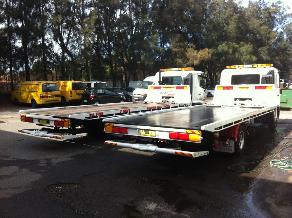 The back of our tow trucks