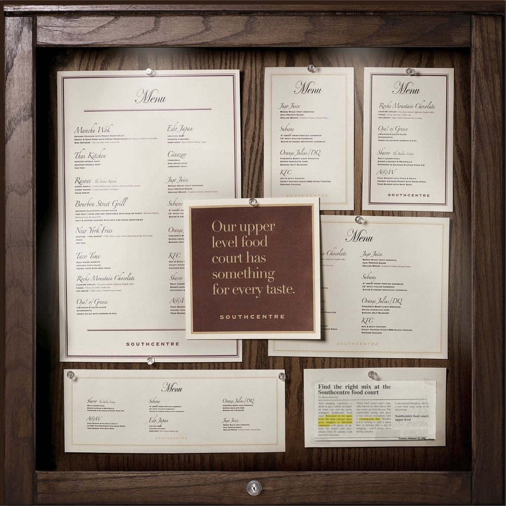 We created an upscale menu board listing the food venues and menu items.