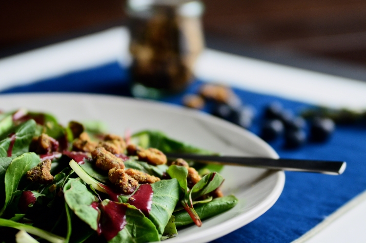 Blueberry Vinaigrette with Baby Greens and Toasted Walnuts | Seed Plant Water Grow