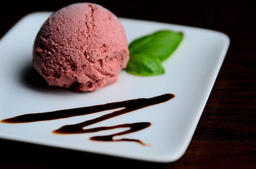 Strawberry Basil Coconut Sorbet with Balsamic Reduction | Seed Plant Water Grow