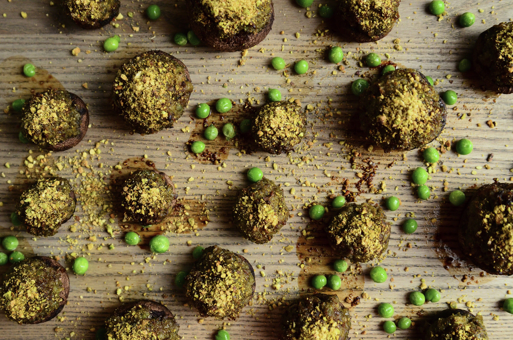Pea + Shallot Stuffed Crimini Mushrooms topped with Balsamic and Sage Infused Crushed Pistachios | Seed Plant Water Grow