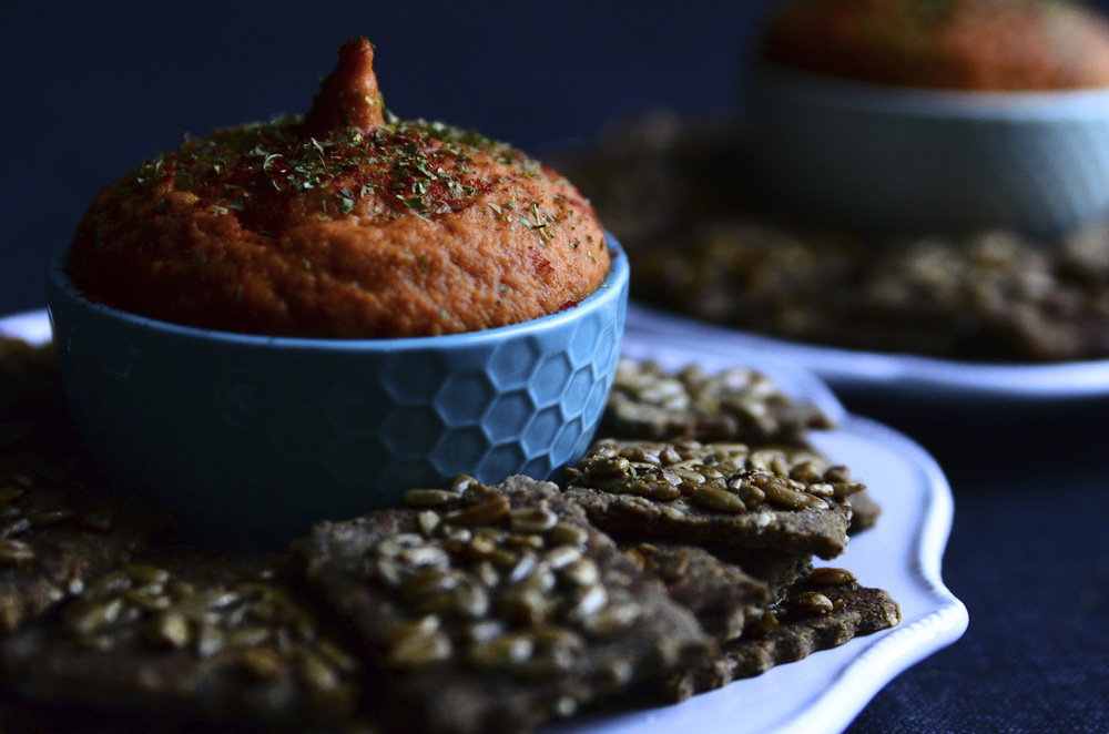 Smoky Scalloped Sweet Potato Onion Dip{dairy-free} + Almond Quinoa Crackers topped with Honey Glazed Sunflower Seeds | Seed Plant Water Grow