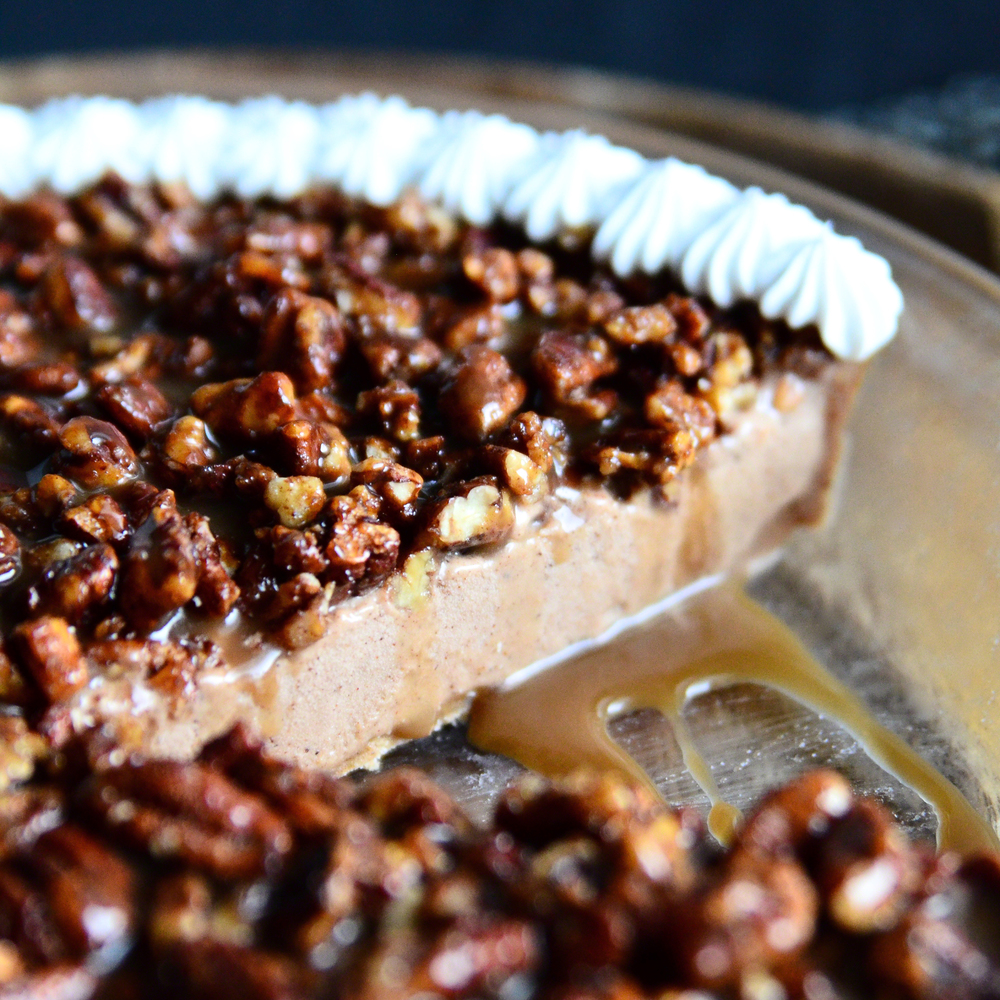 Pumpkin Pie Spice Pecan Ice Cream Pie {dairy-free} topped with Coconut Cream Caramel Sauce and Coconut Milk Whipped Cream | Seed Plant Water Grow