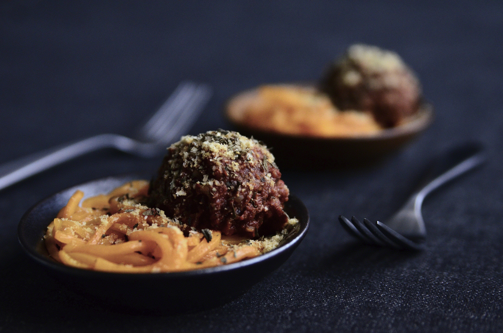 Quinoa, Oat, Cauliflower, Walnut, & Black Bean Vegan Meatballs with Marinara & Butternut Squash Noodles topped with Almond Coconut Parmesan & Basil | Seed Plant Water Grow
