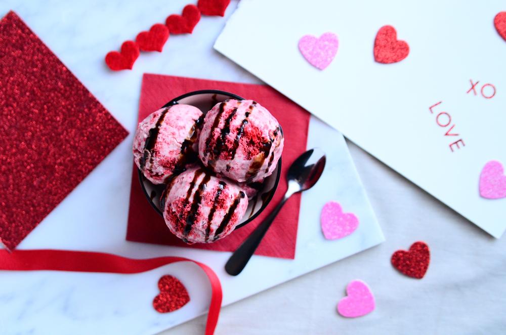 Red Velvet Cake Coconut Milk Ice Cream(gluten free & vegan) topped with Aged Balsamic