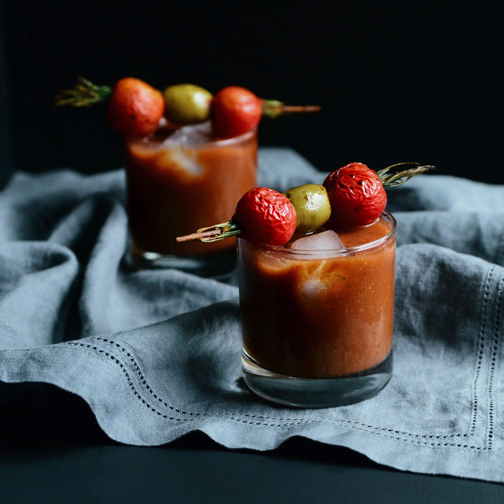 Virgin Bloody Mary with Rosemary Skewered Cherry Tomatoes and Olives | Seed Plant Water Grow
