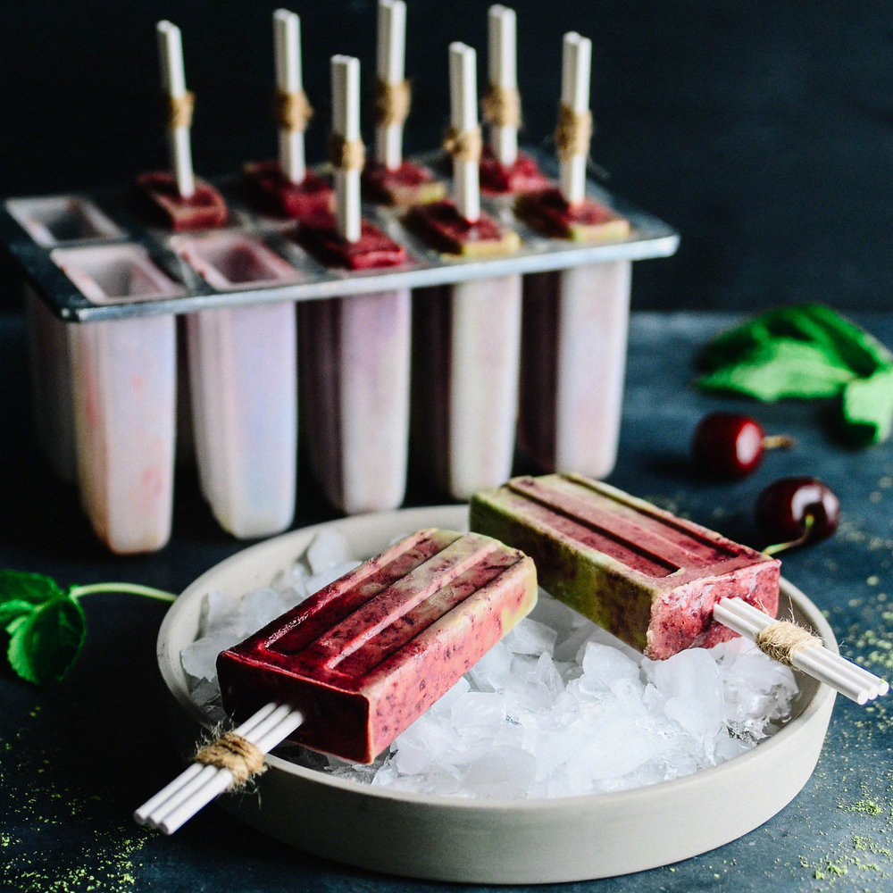 Coconut Matcha Mint Pops with Homemade Cherry Jam | Seed Plant Water Grow