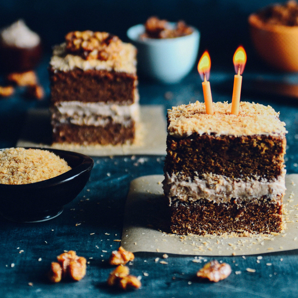 Butternut Toasted Coconut Spice Cake with Candied Walnuts  | Seed Plant Water Grow