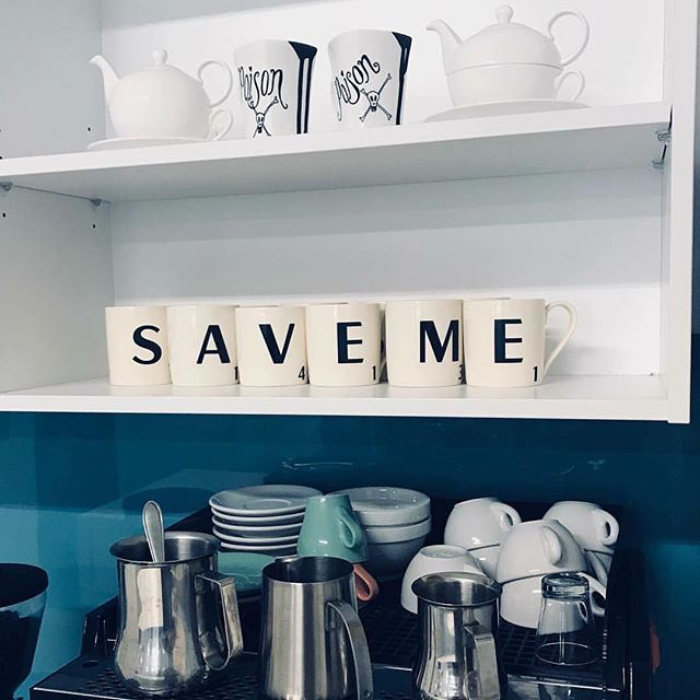 Mysterious mug messages at Experience today! . . . #coffee #mugs #scrabble #word #agencylife #ghost #saveme #wellington #aotearoa #newzealand