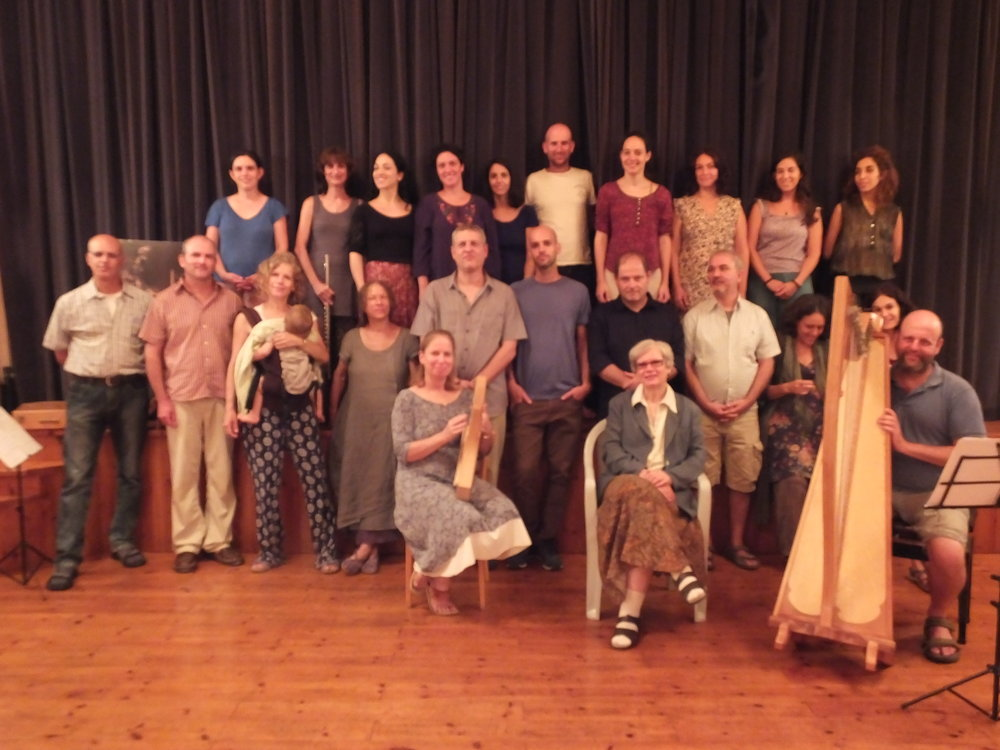 Teachers and students in the opening of the first year of a new anthroposophic music therapy training in Israel.