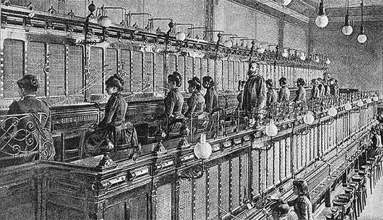 "Telephone Exchange, 1892. From ""De Electriciteit"" by P. van Capelle 1893. Creative Commons."