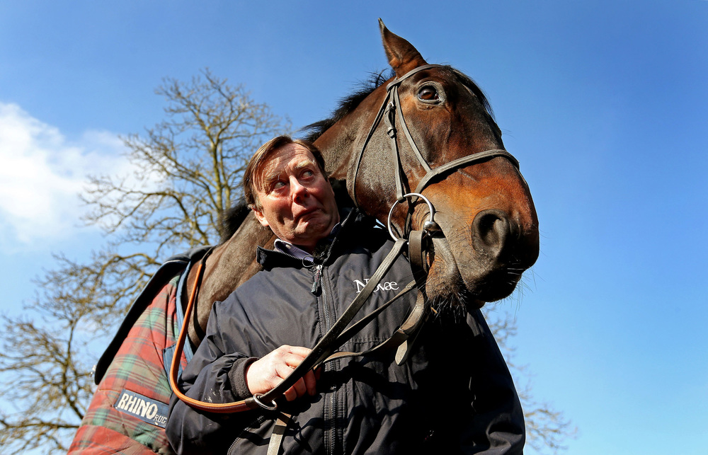 Trainer Nicky Henderson with Sprinter Sacre at his stables in Lambourn, West Berkshire