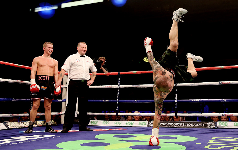 Antonio Rodriguez attempts to prove the fight should not have been stopped after he was beaten by Scott Jenkins during their Lightweight bout at Motorpoint Arena, Sheffield