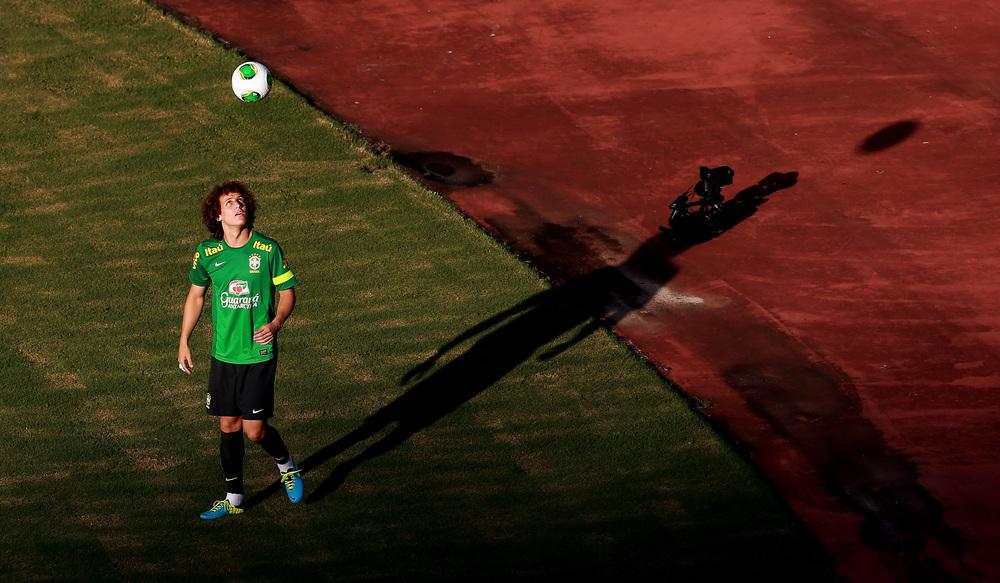 David Luiz during a Brazil training session in the FIFA Confederations Cup at Estadio Roberto Santos, Salvador, Brazil