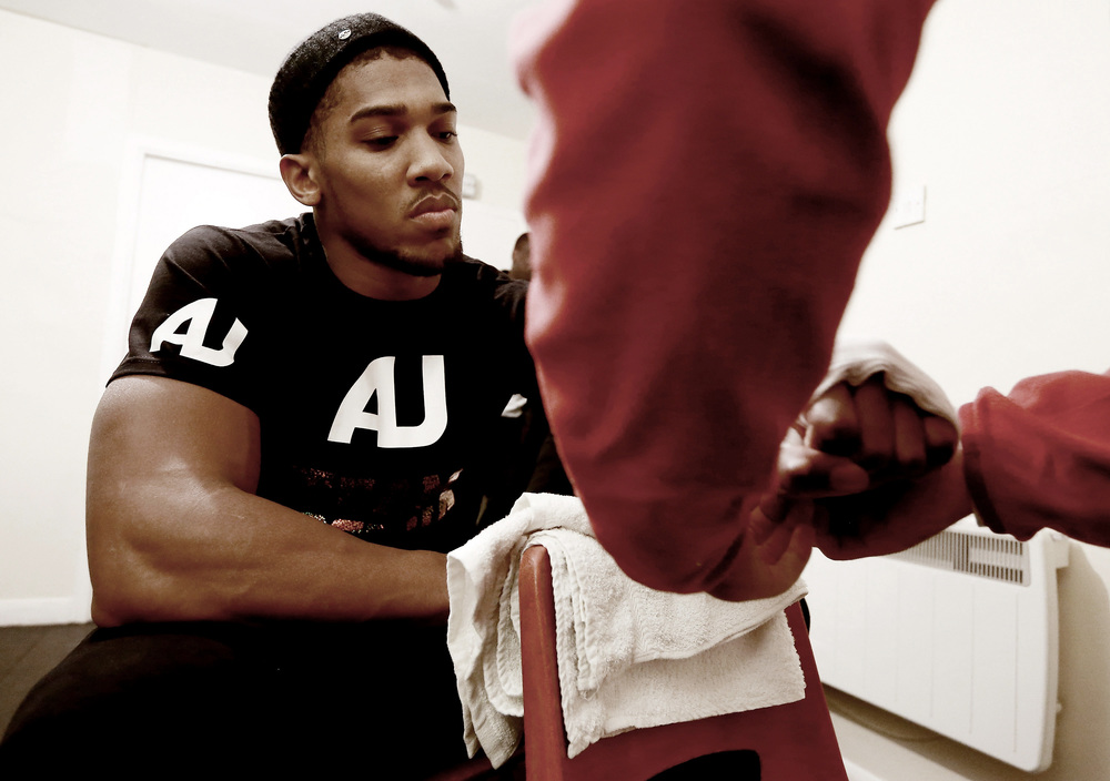 Future Heavyweight Champion Anthony Joshua has his hands wrapped before his third bout at York Hall, Bethnal Green, London