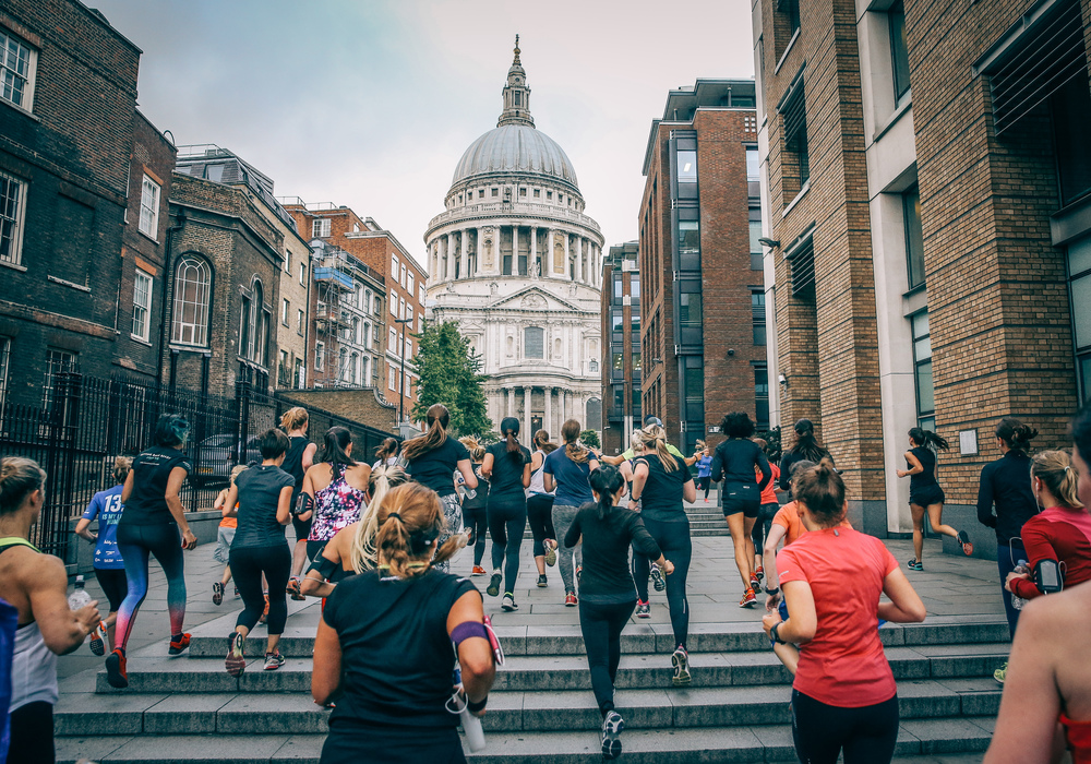Hundreds of women descended on St Paul's in London during the Longest warm up before the 10K event on June 21st