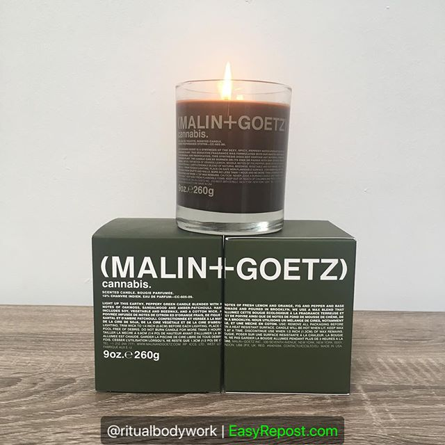"""Just bought this candle last week and I love it 😍  Come by and checkout our retail shelf! We have an awesome candle + skincare product selection by @malinandgoetz  Repost By @ritualbodywork: """"Just 3 more days til 4/20. Do you have what you need? @malinandgoetz"""" (via #InstaRepost @EasyRepost)  #malinandgoetz #ritualbodywork #cannabiscandle #420 #atlspa #atlbeauty"""