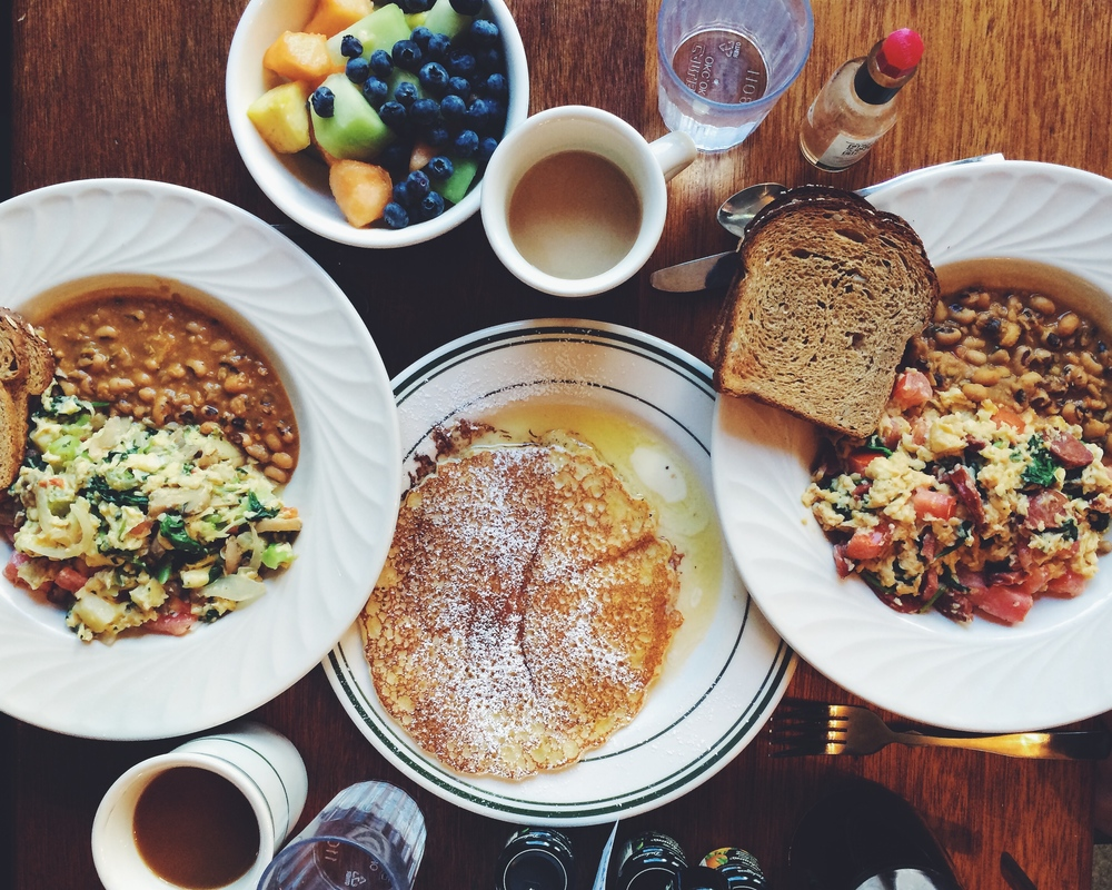 Vegetable pesto scramble, Portuguese scramble, and buttermilk pancake at Black Eyed Susan's