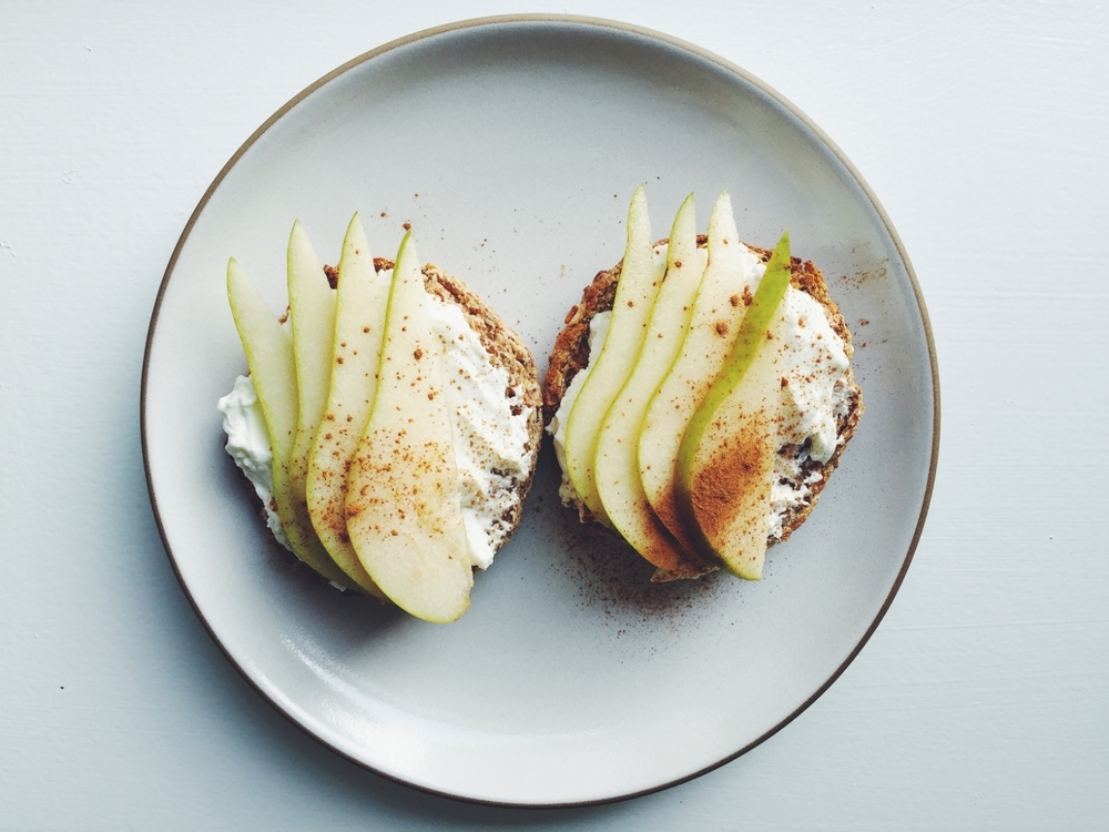 Spread plain Siggi's on an english muffin and top with sliced pear and cinnamon