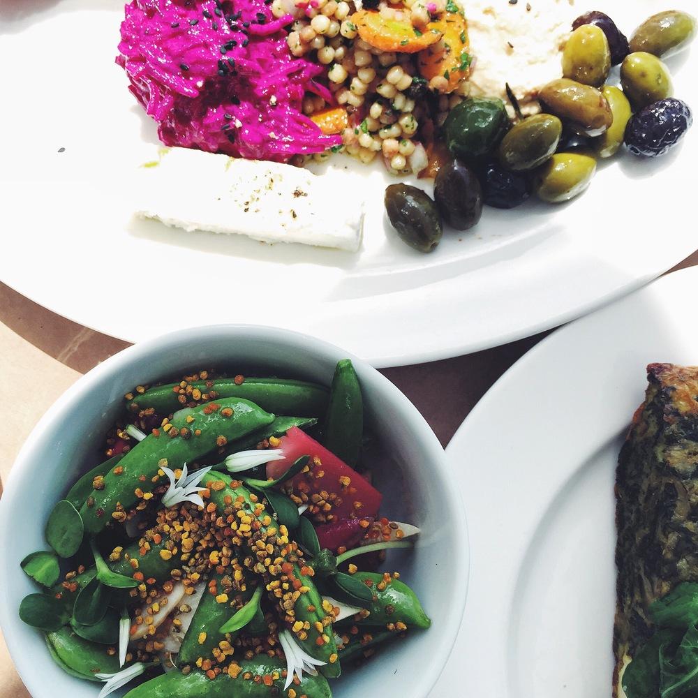 Sugar snap pea salad and mezze at Shed