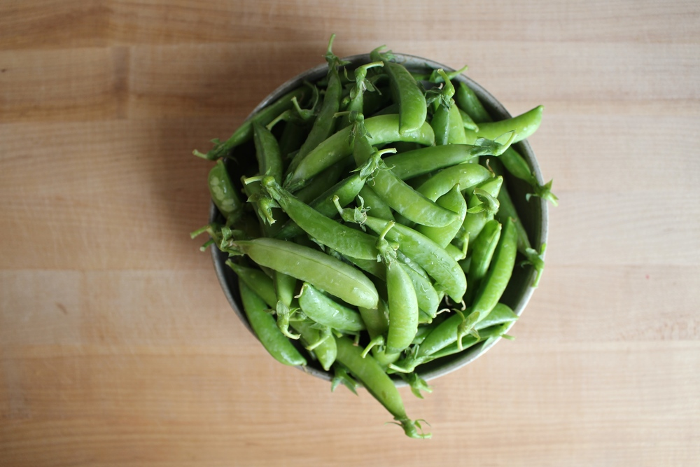 Crispy, crunchy, bright, and vibrant local sugar snap peas
