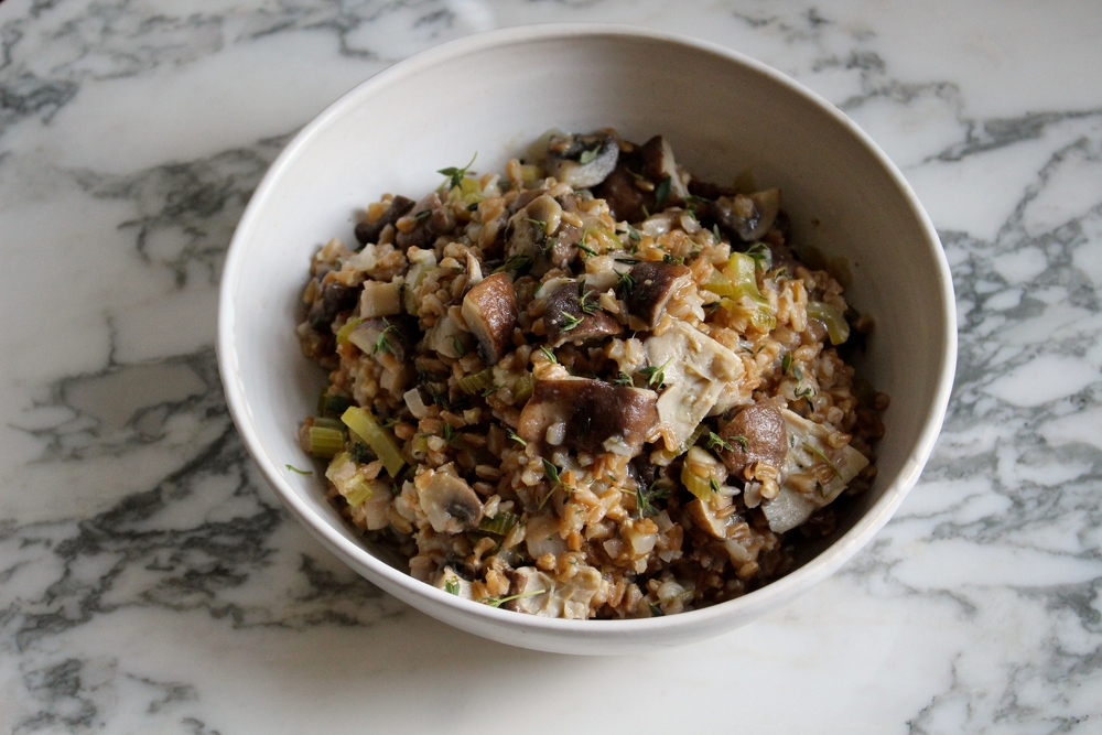 mushroom and farro risotto is a great addition  or alternative to stuffing
