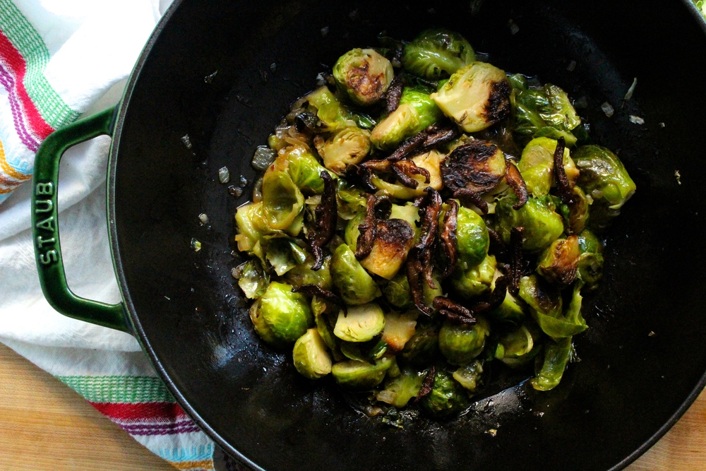 swap saturated fat and sodium-rich bacon for  shiitake bacon and serve it with brussels sprouts