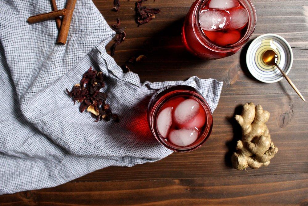 Cold Brewed Hibiscus Cinnamon Ginger Tea Crunchy Radish