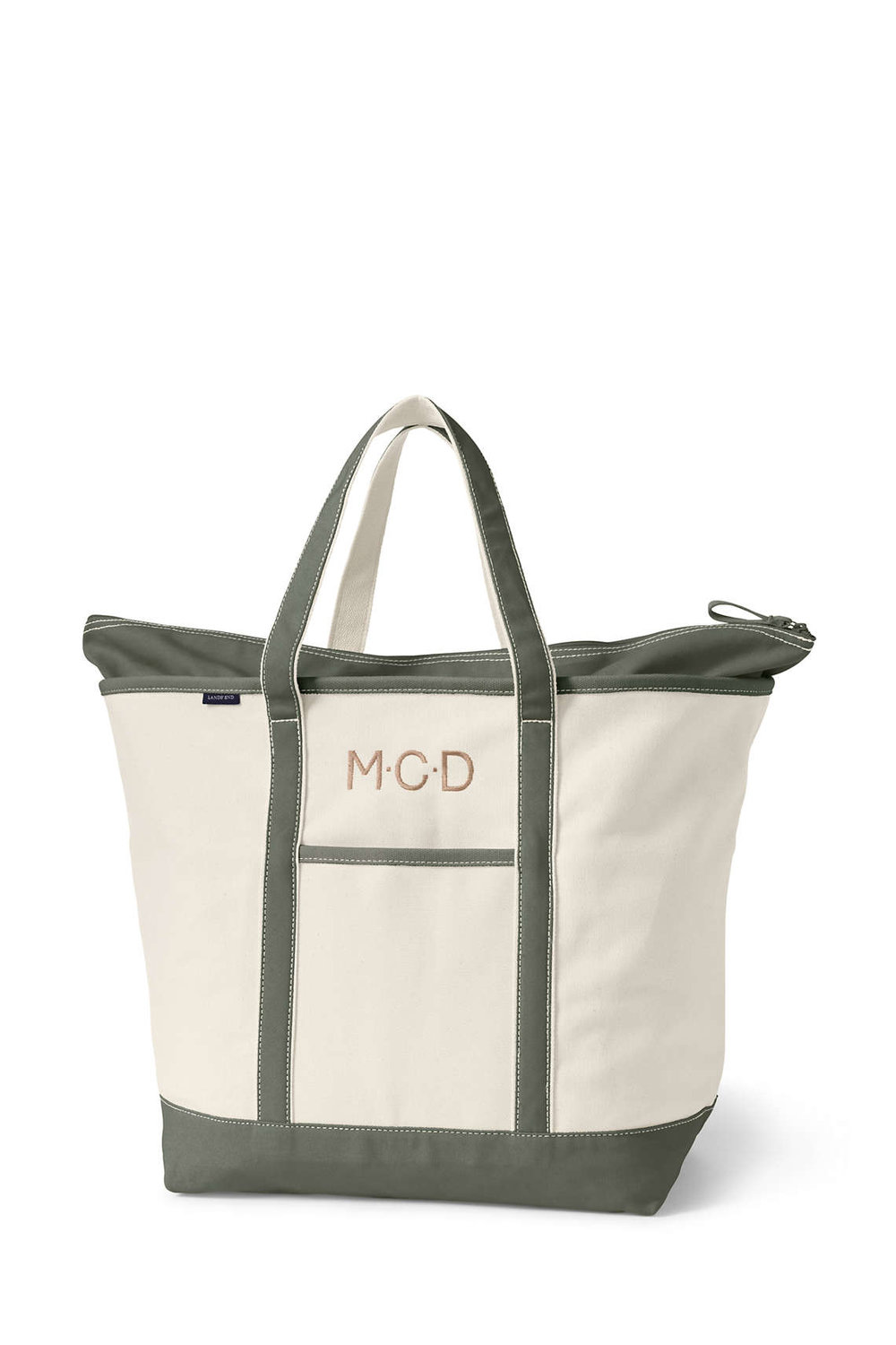 "Extra Large Monogrammed Canvas Tote With Zipper (Received as a gift and now our ""go-to"" baby gift.)"