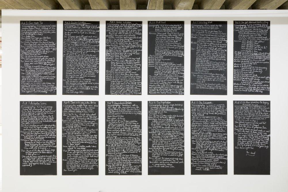 A Wharfie's Story Chalkboard Script,  2017. Chalkboard paint, MDF, chalk, screws. 2800 x 1600 x 5mm. Image: Christian Capurro
