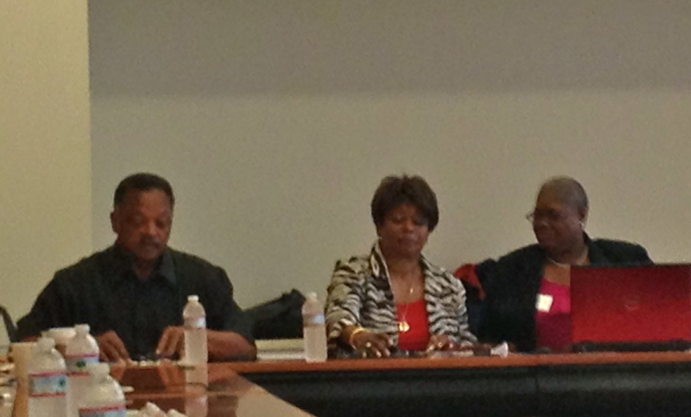 Rev. Jesse Jackson, Clayola Brown and Melanie Campbell lead a meeting of the planning committee for the 50th March on Washington