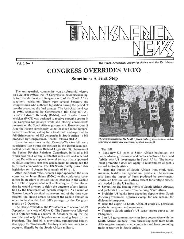 TransAfrica News Vol. 6, No. 1