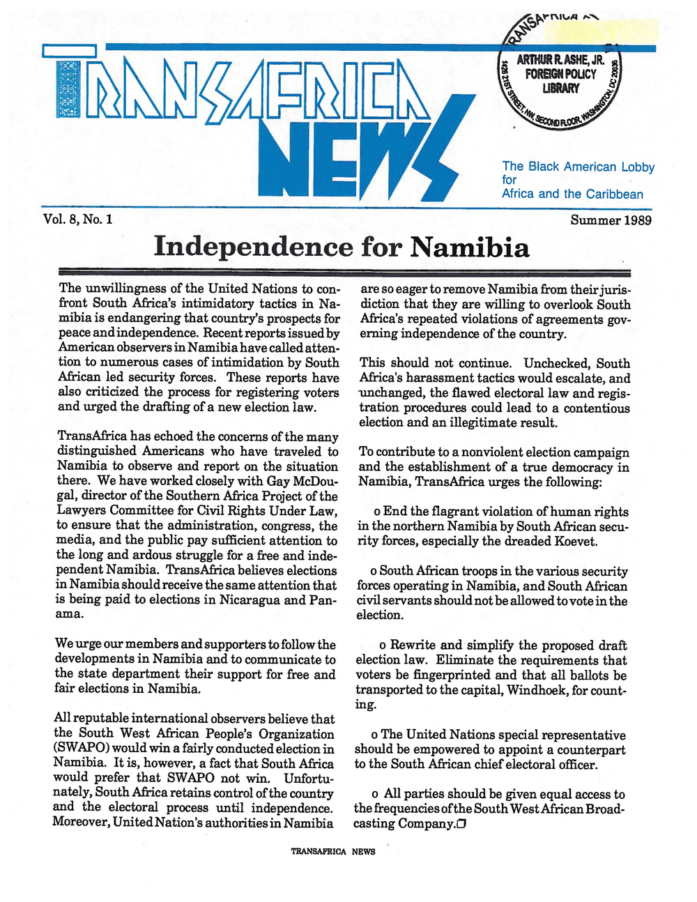 TransAfrica News Vol. 8, No. 1