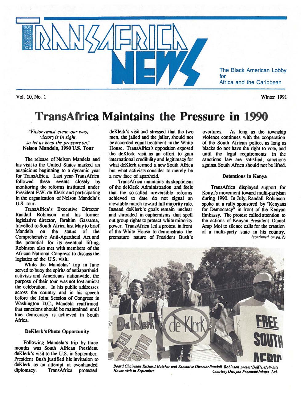 TransAfrica News Vol. 10, No. 1