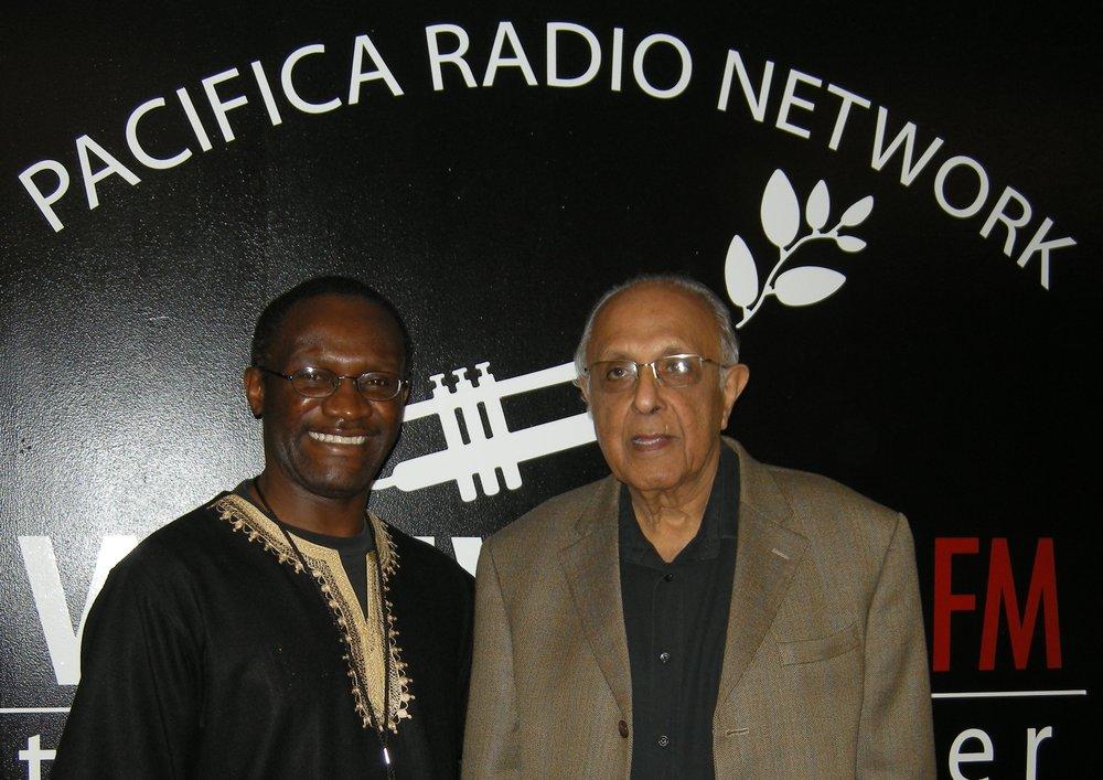 Ant-apartheid leader Ahmed Kathrada (R) with Africa Now! Host Mwiza Munthali (L)