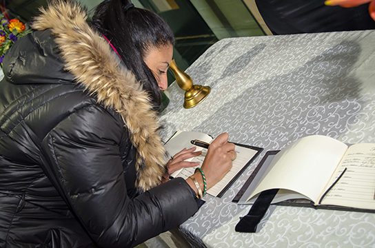 After Nelson Mandela passed on, a condolence book was available at the South African Embassy in DC so the public could send their sympathies to the Mandela family.