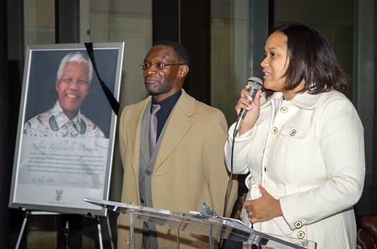 TransAfrica President, Nicole Lee, speaks at a vigil for Nelson Mandela, held at the South African Embassy in DC.