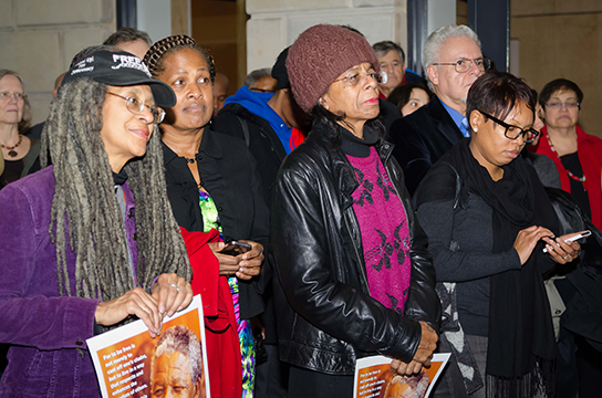A large crowd gathered at the South African Embassy for a vigil held in memory of Nelson Mandela.