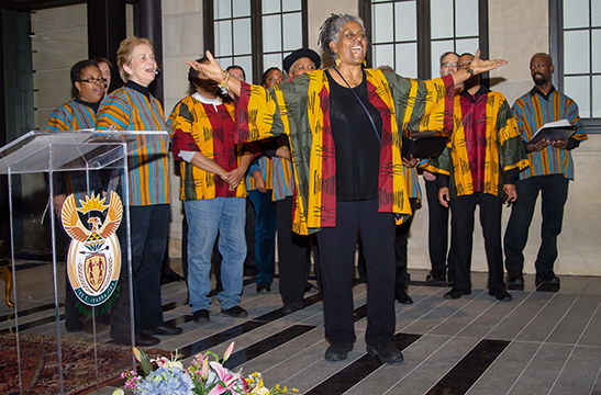 The choir performs at the vigil held for Nelson Mandela at the South African Embassy in DC.