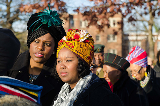 Many guests wore traditional headdresses to the US National Memorial Service for Nelson Mandela