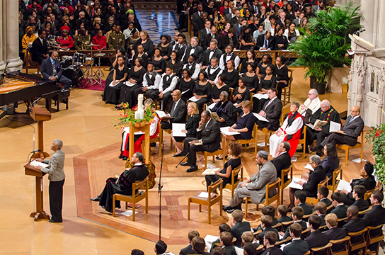 "Dr. Mary Frances Berry delivers her speech on ""Why Madiba Moved Us From Prison"" at the National Cathedral on December 11, 2013"
