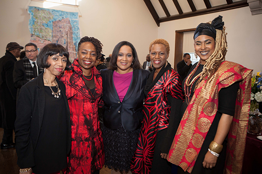 TransAfrica President, Nicole Lee and band members of Sweet Honey in the Rock at the reception following the memorial service for Nelson Mandela.