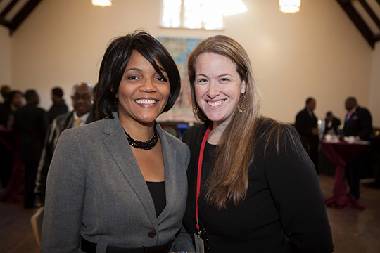 Millicent West and Melinda Miles enjoy the reception following the US National Memorial for Nelson Mandela.