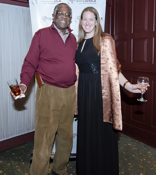 Willie Baker, CBTU Executive Vice President, and Melinda Miles, TransAfrica Program Director pose for a picture at TransAfrica's reception at Clyde's.